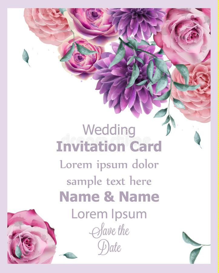 Wedding invitation card with spring flowers banner watercolor Vector. Beautiful vintage pastel colors floral decor posters vector illustration