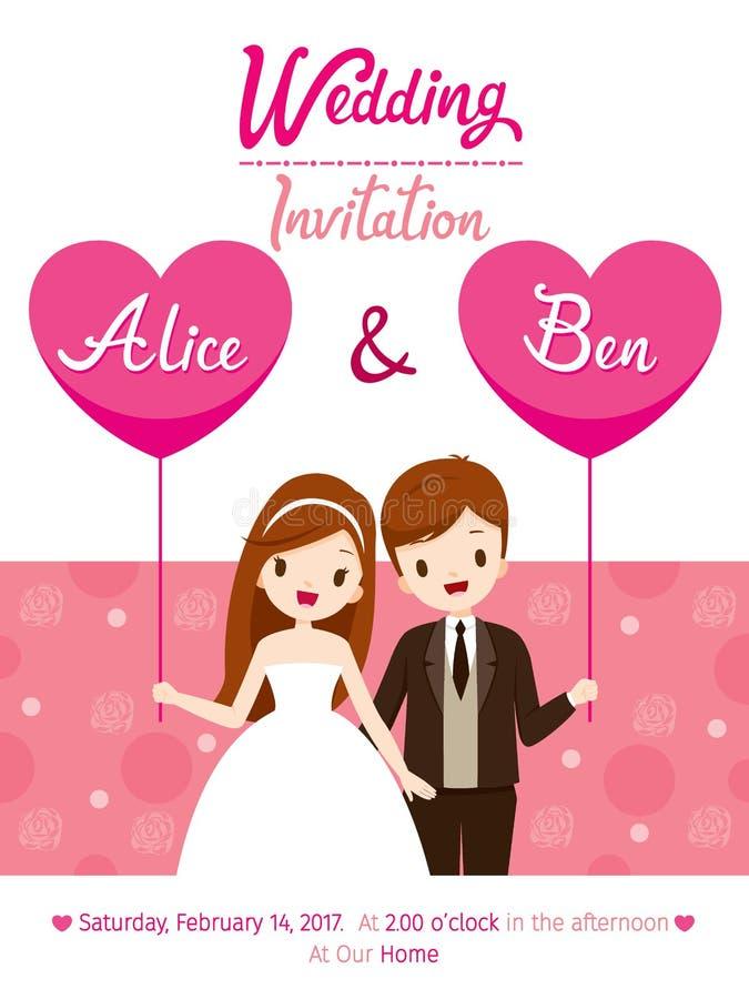Wedding Invitation Card Template Bride And Groom Stock Vector