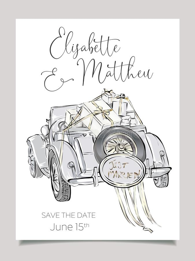 Wedding invitation card template with cabriolet car vector illustration. Clip art set black and white wedding royalty free illustration
