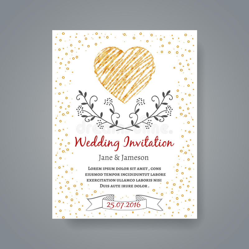 Wedding Invitation Card Template With Hand Drawn Stock Vector ...