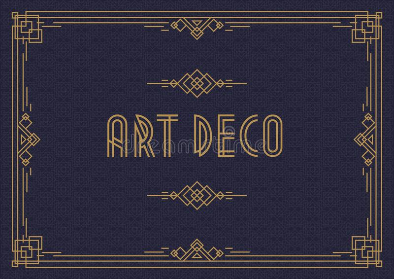 Wedding invitation card template horizontal art deco style with frame gold color. On cyan background. Greeting card. Menu restaurant, cafe. Vector Illustration stock illustration