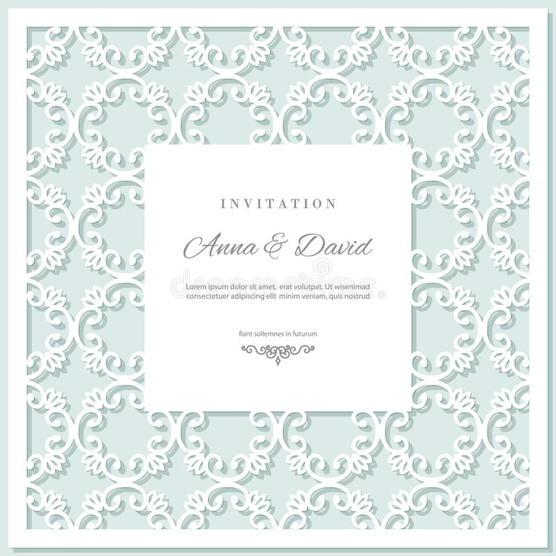 Wedding invitation card template with laser cutting frame. Pastel blue and white colors. royalty free illustration