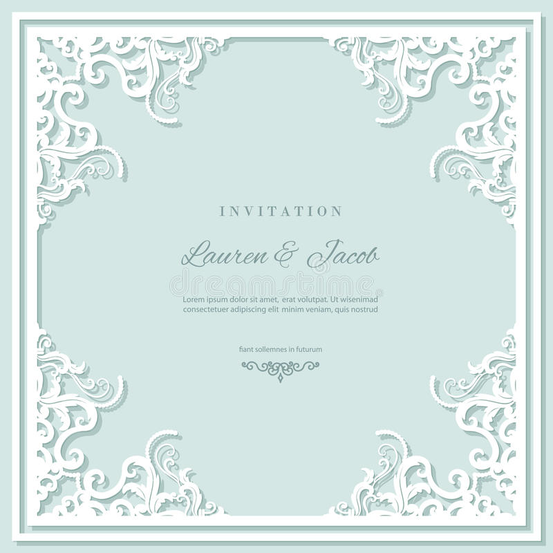 Wedding invitation card template with laser cutting frame. Square filigree cutout envelope design. Pastel blue and white royalty free illustration