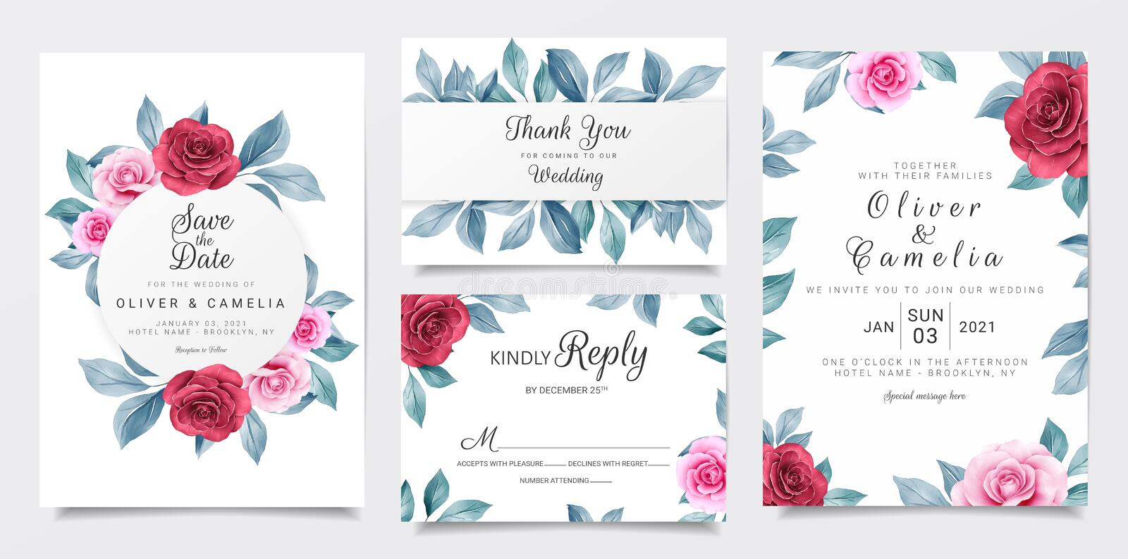 Wedding invitation card template set with maroon and navy watercolor flowers decoration 玫瑰叶植物学插图 皇族释放例证