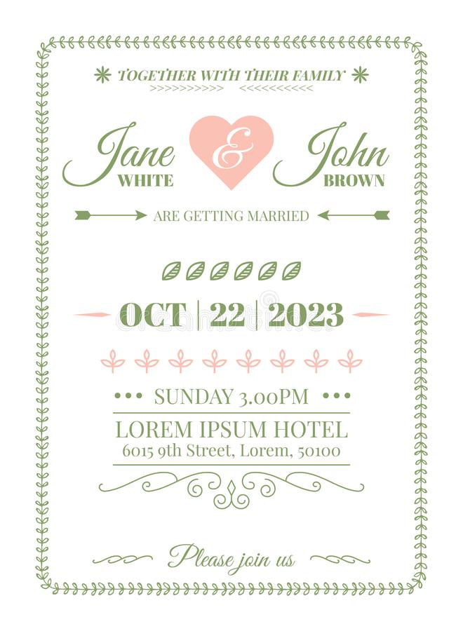 Wedding Invitation Template. Wedding Invitation Card Template with vine boarder and calligraphy flourish in simple style stock illustration