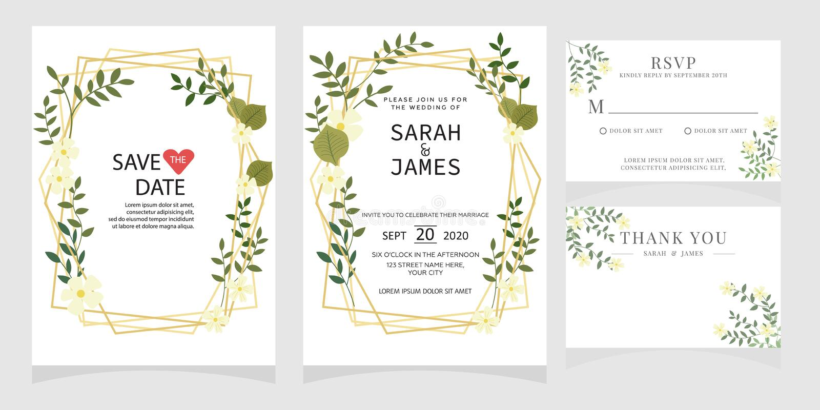 Set of card with flower rose, leaves. Floral poster, invite. Wedding ornament concept. wedding invitation card template. Wedding invitation card template stock illustration