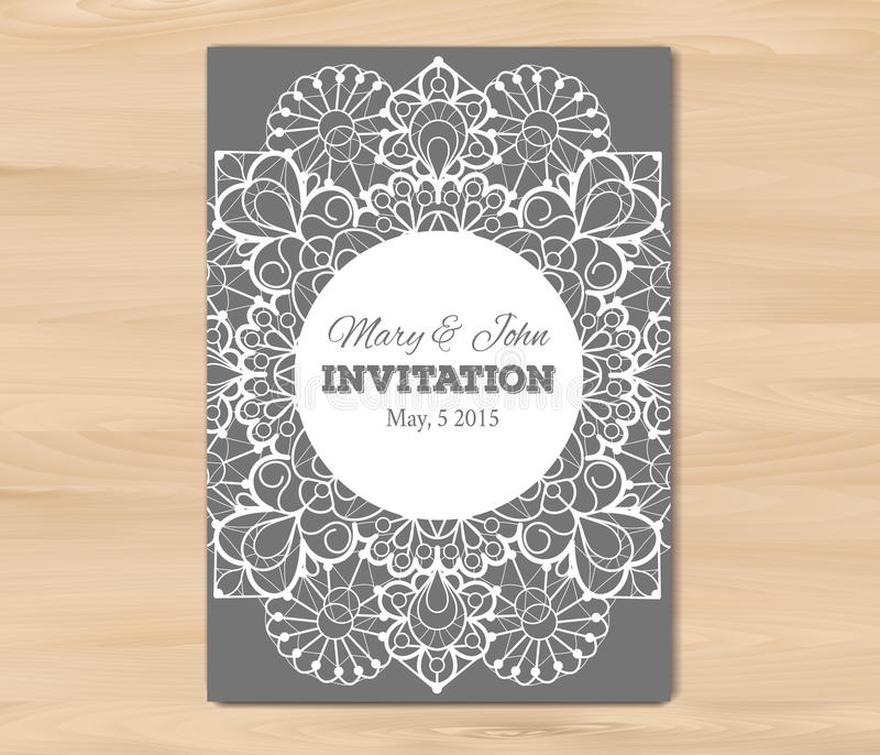 Wedding invitation card template stock vector illustration of wedding invitation card template on a wooden background vintage lace design eps 10 vector free fonts used nexa rust alex brush crimson stopboris Images