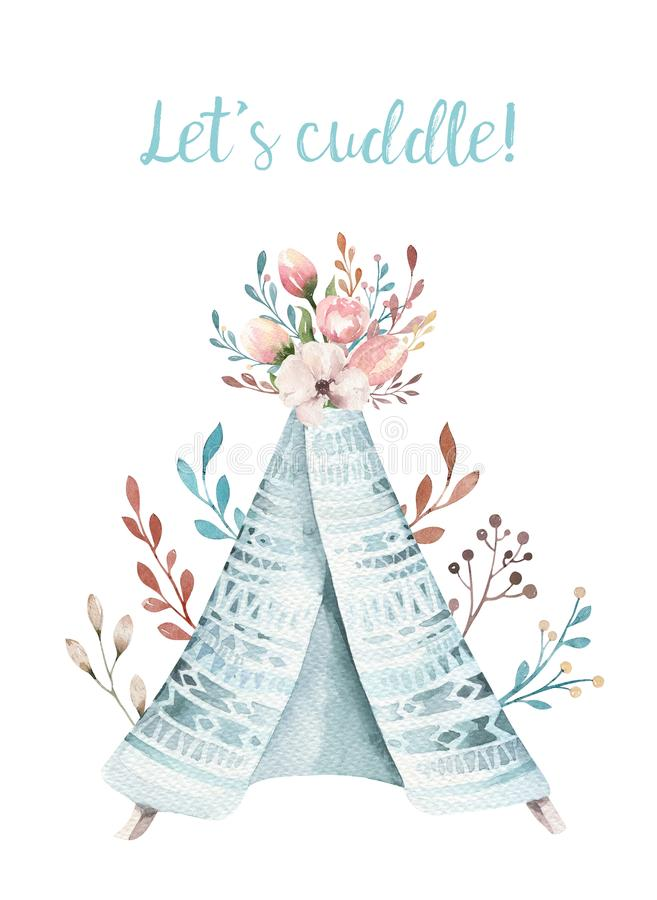 Watercolor Invitation Card With Teepee. Bohemian PosterT Emplate ...
