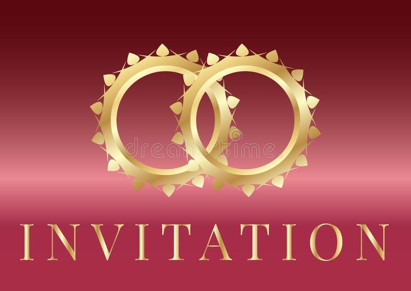 Wedding Invitation card templates with golden wedding rings on iridescent background royalty free illustration