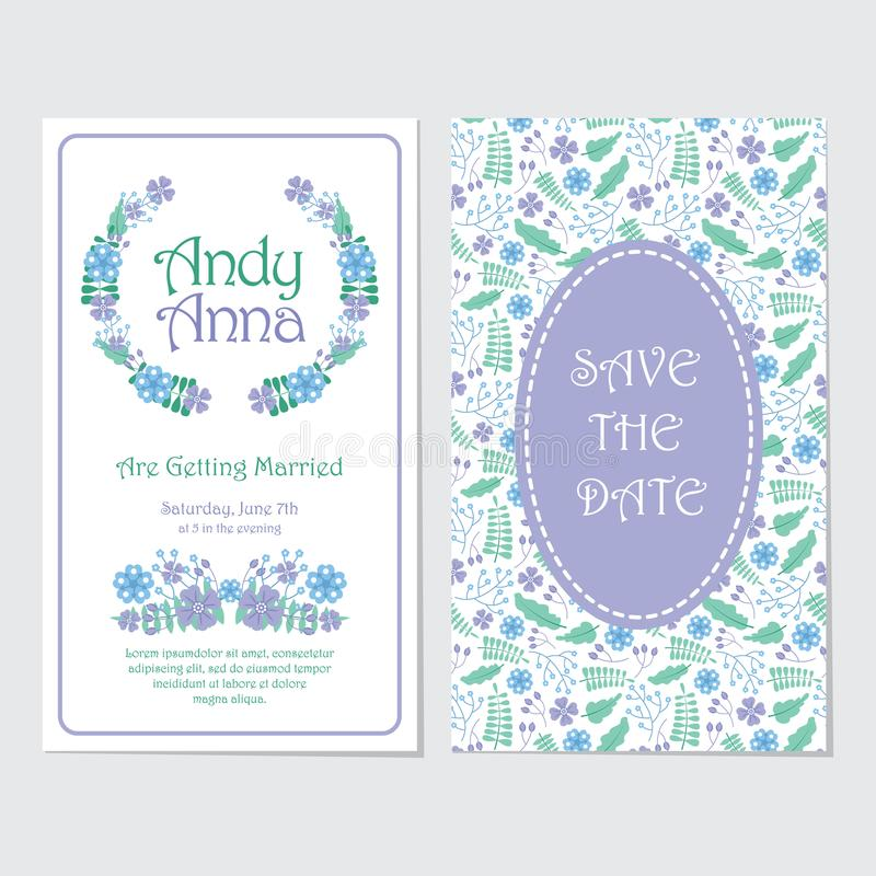 Blue and purple flowers wreath wedding invitation card stock photography