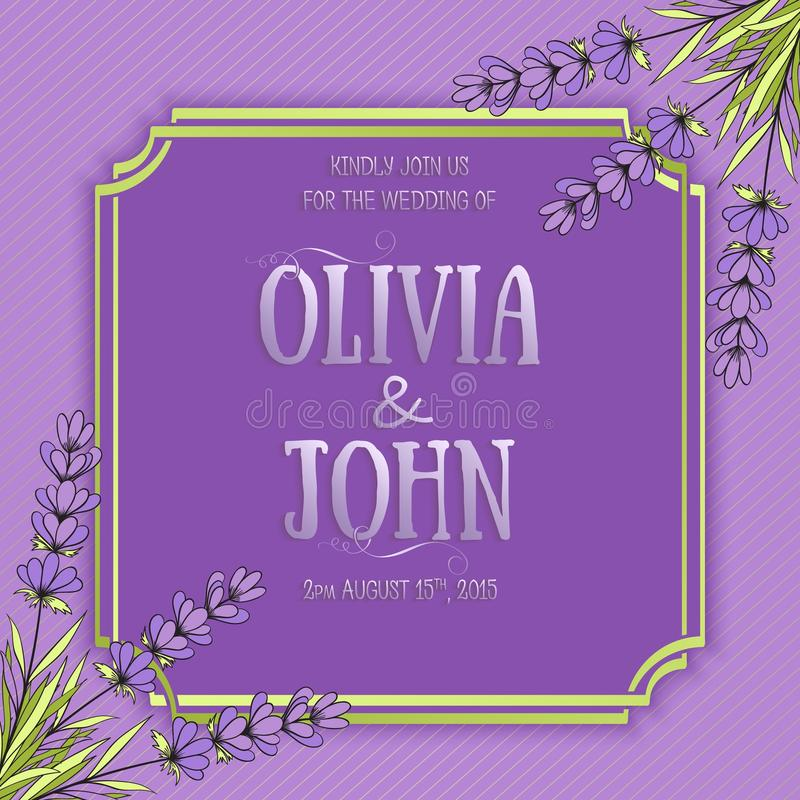 Wedding invitation card. Vector invitation card with elegant frame with text decorated with lavender flowers royalty free illustration