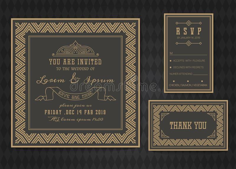 Wedding invitation card vector template . Wedding invitation card vector template set. Art deco style vector illustration
