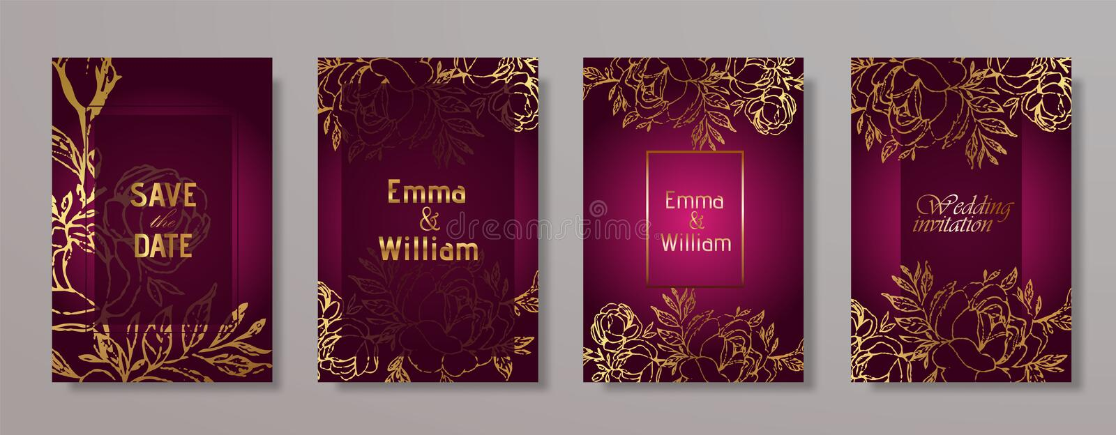 Wedding invitation card. Vector template for wedding invitation with gold flowers. Luxury wedding invitation frame set. Wedding invitation card. Vector template royalty free illustration