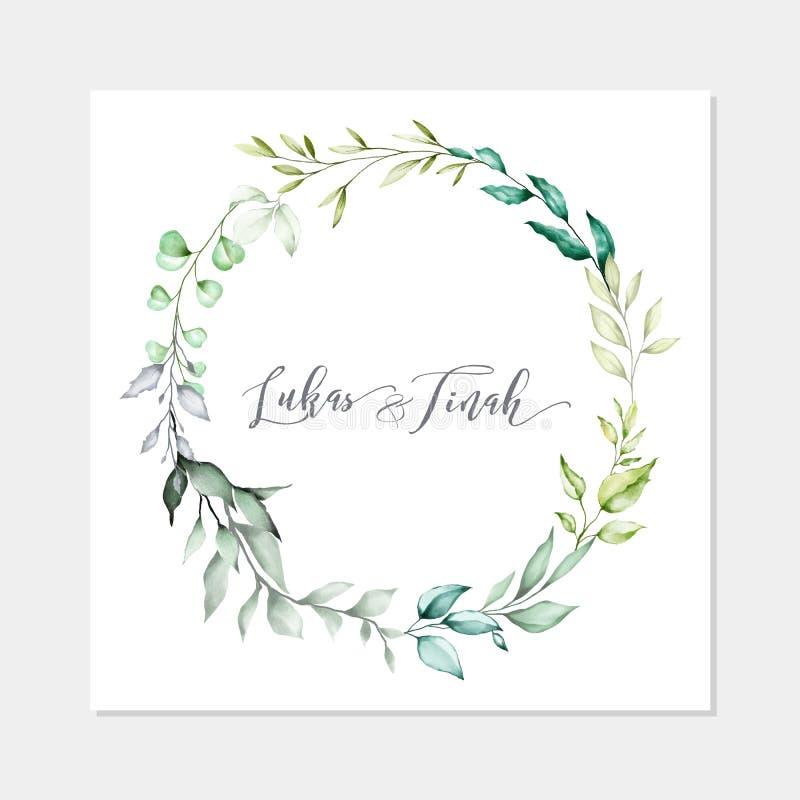 Wedding invitation card watercolor style royalty free stock photos