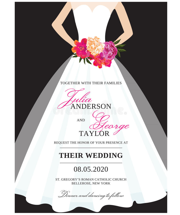 Wedding Invitation Card With Wedding Dress Stock Vector ...