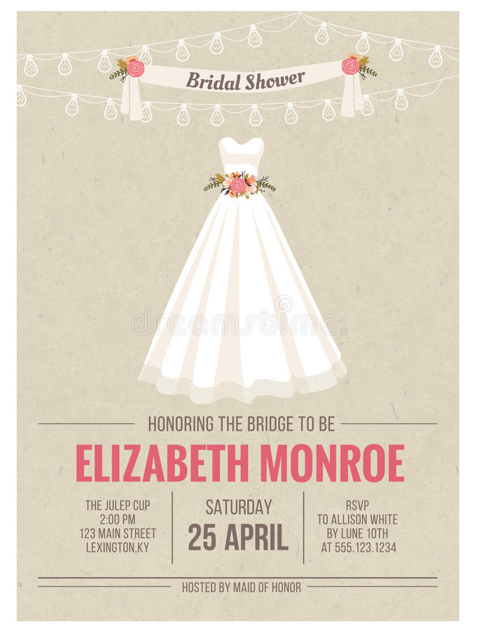 Bridal Shower Invitation Card With Wedding Dress Stock Illustration ...