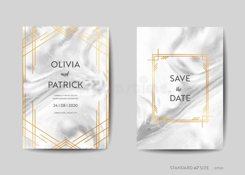 Wedding Invitation Cards, Art Deco Style Save the Date with trendy marble texture background and gold geometric frame royalty free illustration