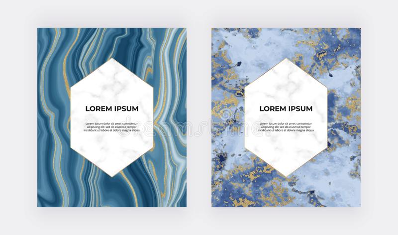 Wedding invitation cards with blue liquid marble texture. Golden glitter ink painting abstract backgrounds. Trendy template for ba royalty free stock photos