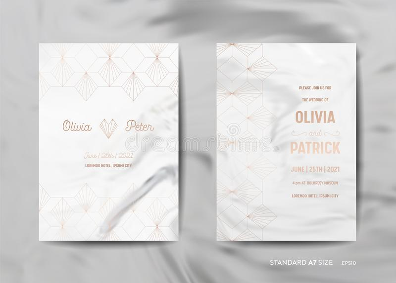 Wedding Invitation Cards Collection. Save the Date, RSVP with trendy marble texture background gold geometric art deco vector illustration