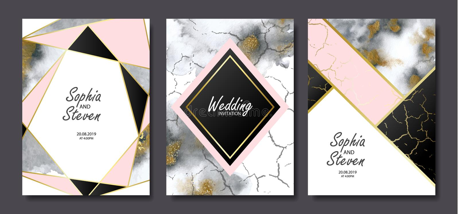 Wedding invitation cards with gold and grey marble watercolor texture and geometric shapes.Vector illustration. vector illustration