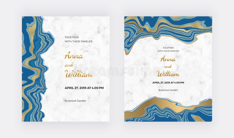 Wedding invitation cards with liquid marble texture. Blue with golden glitter ink painting background. Trendy templates for banner stock illustration
