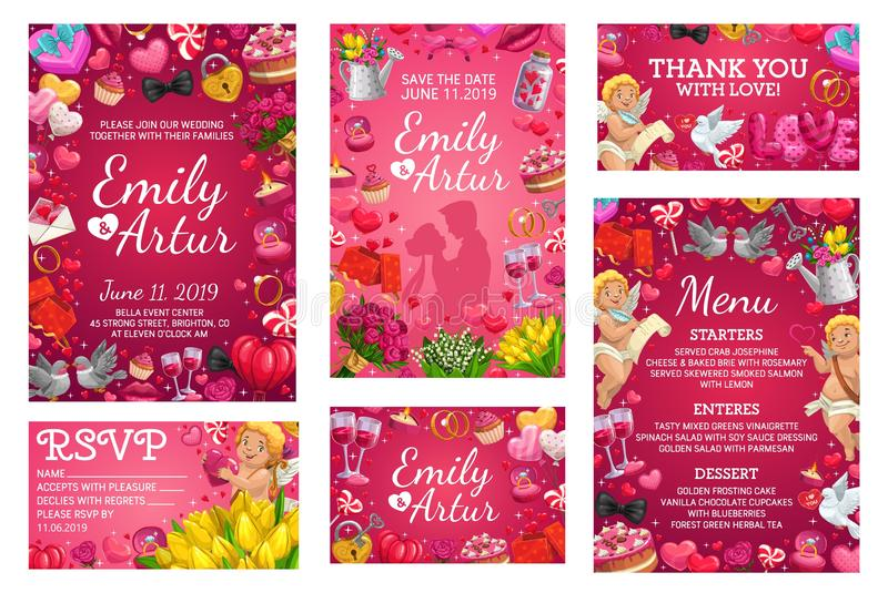 Wedding invitation cards, marriage party menu. Wedding invitations and marriage party menu with roses floral wreath, hearts and golden wedding rings. Vector vector illustration