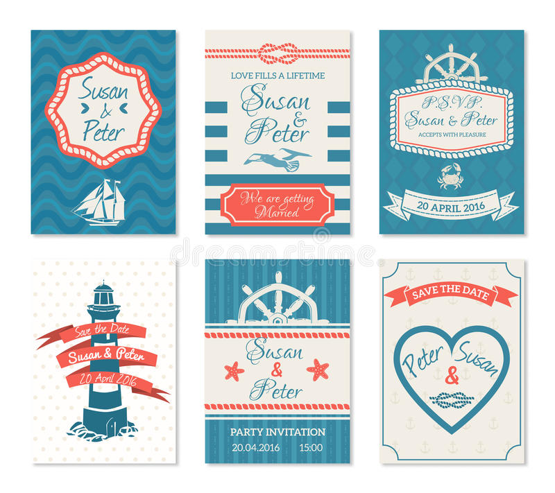 Key Elements Of Nautical Style: Wedding Invitation Cards In Nautical Style Stock Vector