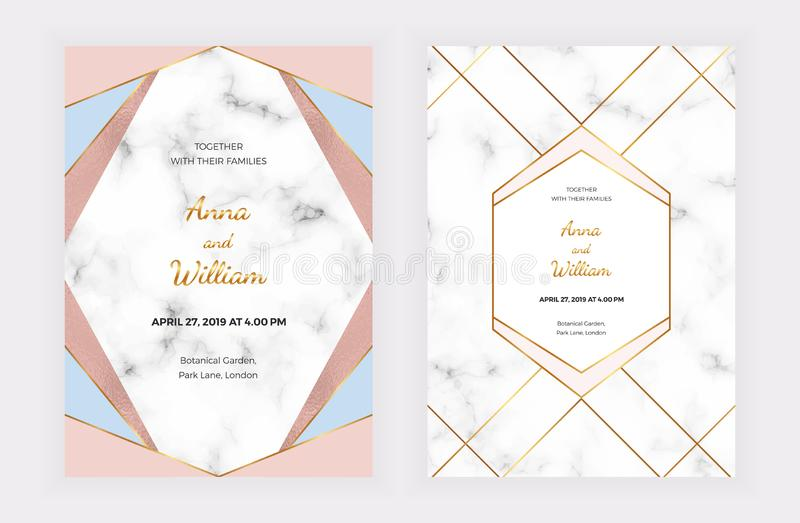 Wedding invitation cards with pink, blue geometric design, golden lines, foil and marble texture. Background for celebration, flye royalty free illustration