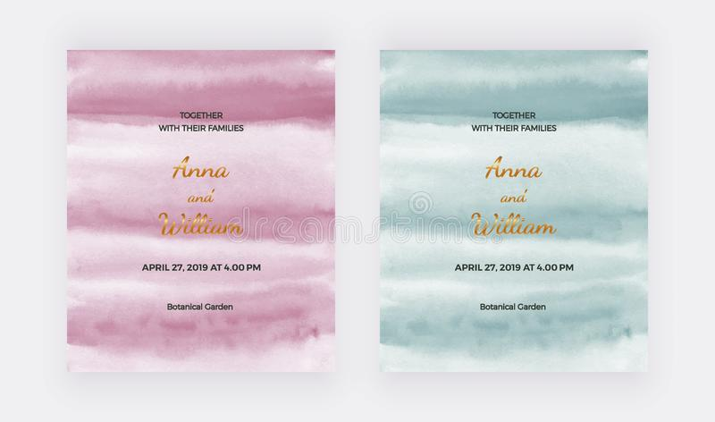 Wedding invitation cards with pink, green watercolor texture. Modern hand painting template for card banner, flyer, poster, save t vector illustration