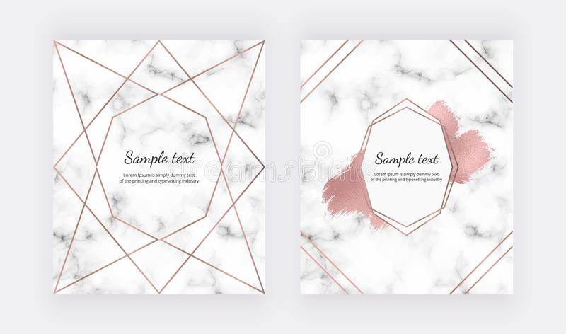 Wedding invitation cards with rose gold geometric design, polygonal lines and foil brush paint stroke on the marble texture. Backg stock illustration