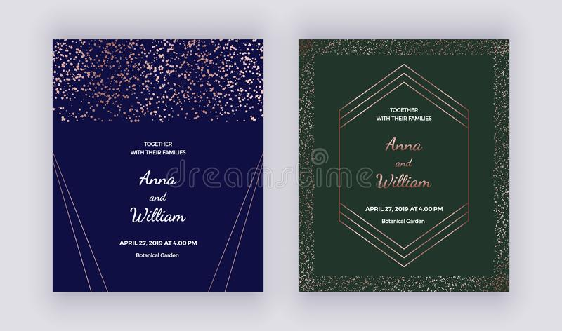 Wedding invitation cards with rose gold geometric polygonal lines, frame, confetti on the dark blue and green background. Trendy t vector illustration