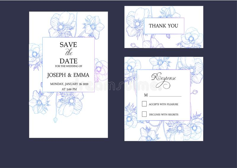 Wedding invitation cards set with elegant anemones stock photos