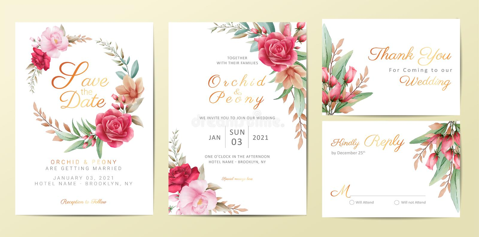 Wedding invitation cards template set with elegant flowers. Watercolor flowers decoration Save the Date, Invitation, Greeting,. Thank You, RSVP cards vector vector illustration