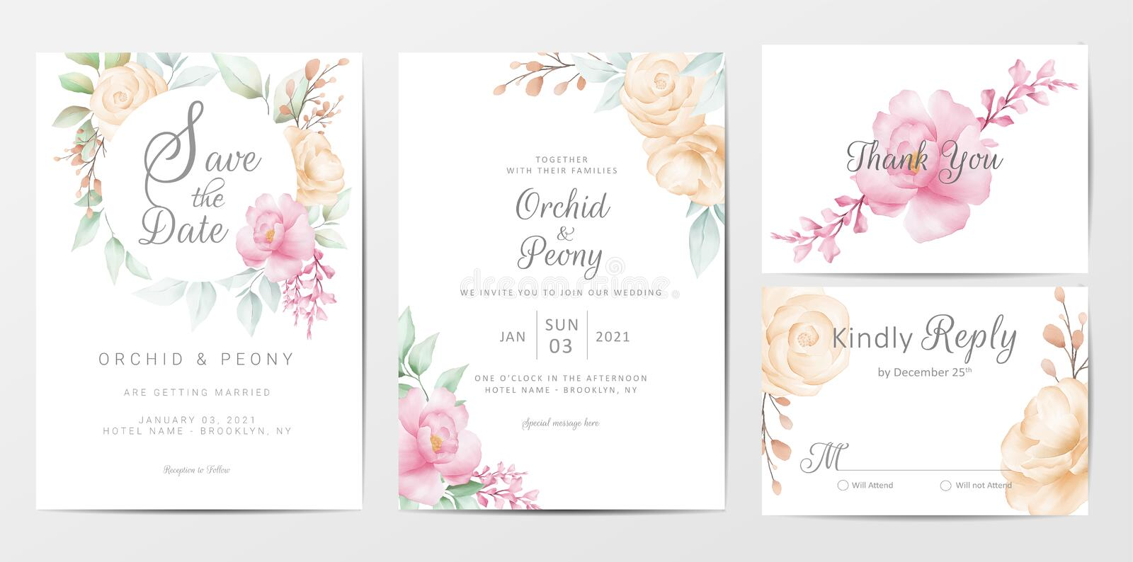 Wedding invitation cards template set of elegant watercolor flowers. Fully editable vector template, save the date, invitation, greeting, thank you, and rsvp royalty free illustration