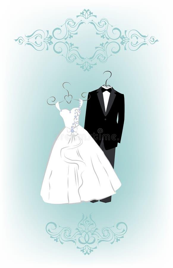 Wedding Invitation With Cartoon Dress Of Bride And Groom Stock ...