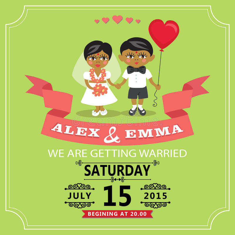Wedding Invitation With Cartoon Indian Baby Bride And Groom Stock ...