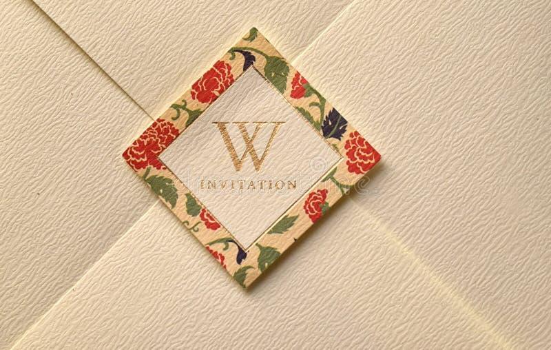 Wedding invitation. Closeup of wedding invitation with letter w stock image