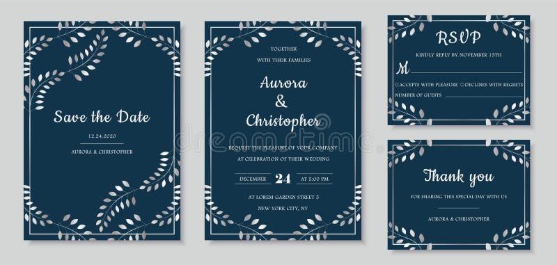 Elegant wedding invitations set with silver floral motives and marine blue background. royalty free illustration