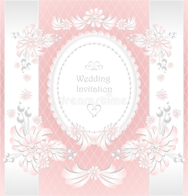 Wedding invitation or congratulation with pearls f stock illustration