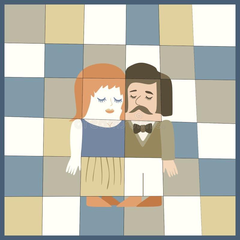 Wedding invitation with cute cartoon man and woman. Ceramic tile vector illustration