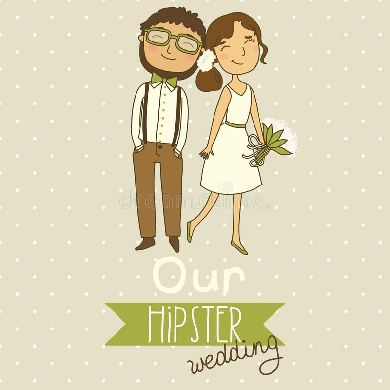 Wedding invitation with a cute couple stock illustration