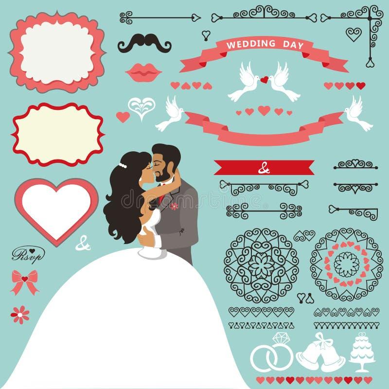 Wedding invitation decor set with Kissing couple. Wedding invitation card decor set.Cartoon kissing couple bride and groom.Swirling borders ,brushes, ribbon stock illustration
