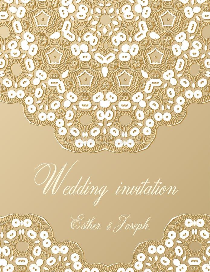 Wedding invitation decorated with white lace stock vector download wedding invitation decorated with white lace stock vector illustration of invite celebration stopboris Images