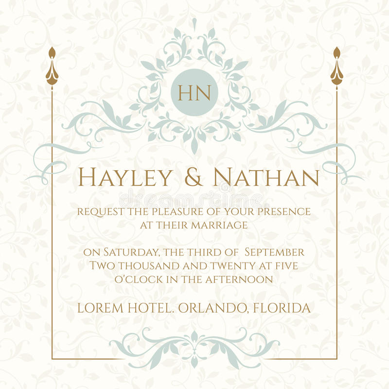 Wedding invitation. Decorative floral frame and monogram. royalty free illustration