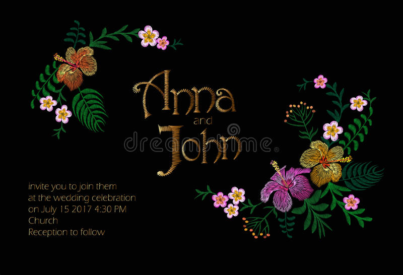 Wedding Invitation Design with Jungle Hawaii flowers. Save the Date Card with Tropical Exotic Palm Leaves. Hibiscus vector illustration