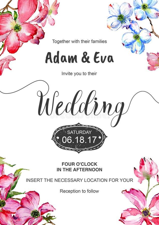 Wedding invitation DiY template dogwood handmade watercolor illustration. royalty free illustration