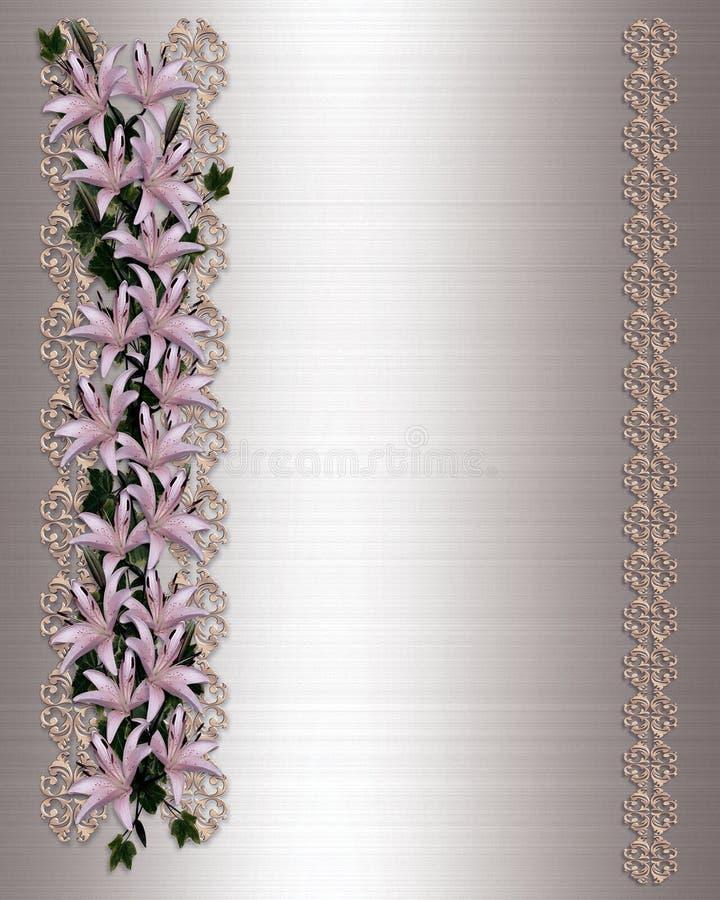 Wedding invitation Asian lilies stock image