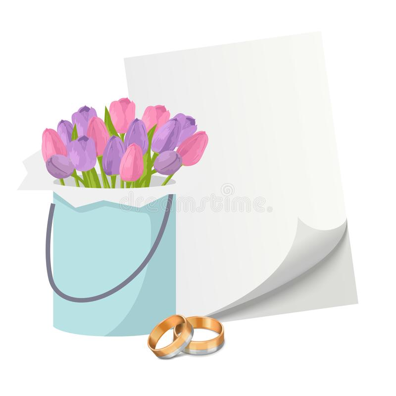 Wedding invitation elements with gold rings, tulips flower bouquet and blank paper vector illustration. Pair of golden vector illustration