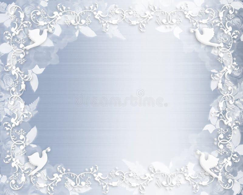 Wedding Invitation Floral border blue satin stock illustration
