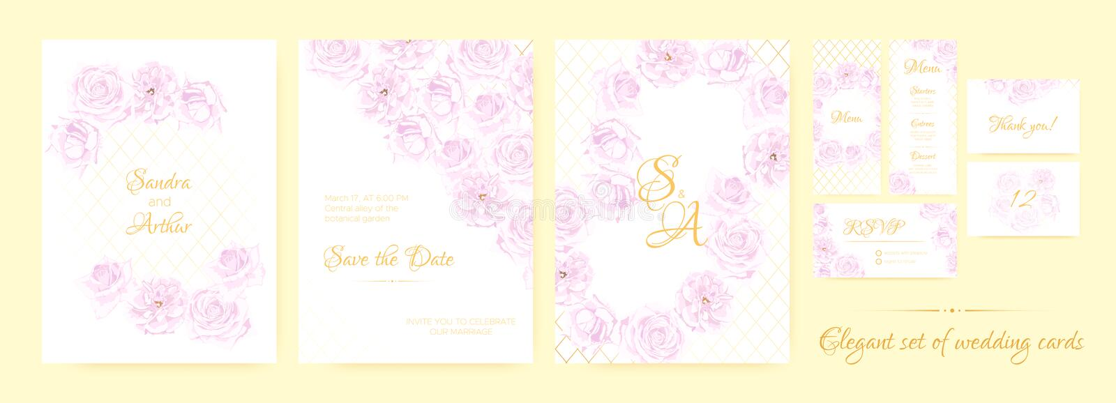Wedding Invitation Floral Collection. stock illustration